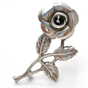 Lang Sterling Silver Rose Brooch Pin Vintage