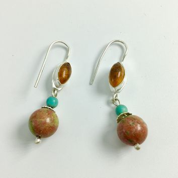 Tigers Eye, Turquoise and Jasper Silver Earrings