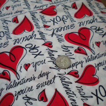 valentines heart fabric, happy valentines day fabric, conversation heart decor, you're sweet hug me, dear hearts cp11311, springs global