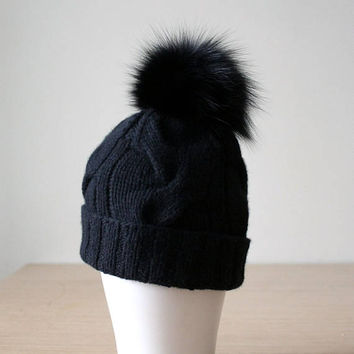 Black fur pom pom hat, Black beanie hat, Cable knit hat, Cashmere hat, Black bobble hat, Fox fur pom pom, Women's pom hat