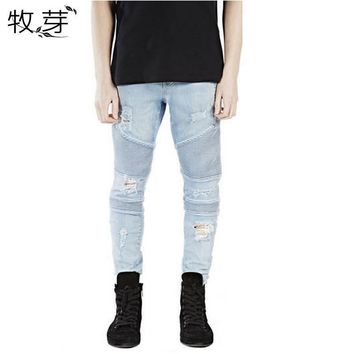 Plus Size represent clothing designer pants blue/black destroyed mens slim denim straight biker skinny jeans men ripped jeans
