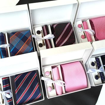Classic Striped Tie Set with Cufflinks and matching Handkerchief - 20 Variations