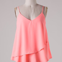 Ruffle Tank Top - Neon Peach