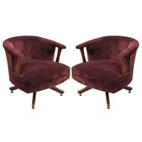 Pre-owned Pearsall Style Brown Velvet Swivel Chairs - A Pair