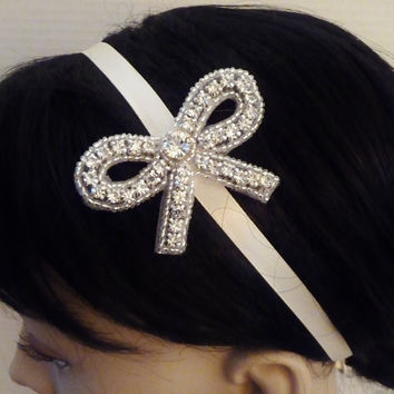 Bridal Rhinestone Headband MILANA Bridal Bow by BellaCescaBoutique