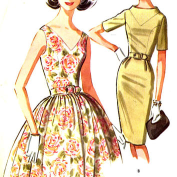 60s Rockabilly dress or slim wiggle dress vintage sewing pattern McCalls 6645 Bust 33