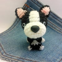 Amigurumi crochet Boston Terrier, Puppy Dog toy. Cute Boston Terrier plushie. Crochet dog