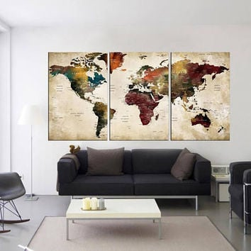 Push pin world tavel map wall art 3 pieces wall art World map art home decor, extra large wall art push pin world map with cities  hr75