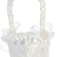 Pearl Centered Dimensional Flowers on Matte Satin Flower Girl Basket in White or Ivory (Girls)