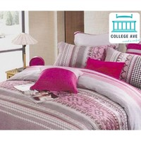 Pink and Gray Shantal College Twin XL Dorm Bedding