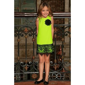 Neon Yellow Stretchy Summer Shift Dress With Black Lace Trim - Girls