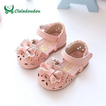 Claladoudou New Spring Summer Princess Baby Sandals Cute Bow Hollow Girl Leather Shoes 0-6 Years Old Pink White Baby Toddler