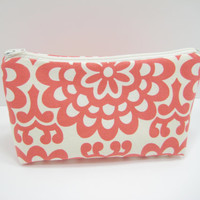Red Cosmetic Bag, Zippered Accessory Pouch, Curvy Pouch, Pencil Case in Amy Butler Print, Ready to Ship