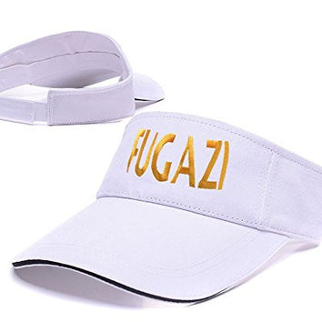 DEBANG Fugazi Punk Band Logo Adjustable Visor Cap Embroidery Sun Hat Sports Visors - White