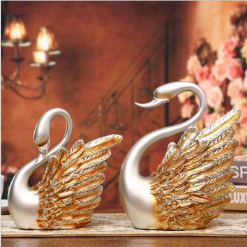 High quality resin crafts European silver swan creative ornaments home decorations business gifts