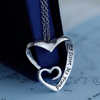 "Fashion Popular European Heart in Heart Pendant Necklace Letters Carved ""My Sister My Friend"" = 5618298177"