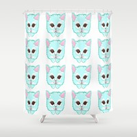 Miss Kitty Shower Curtain by Kathleen Sartoris