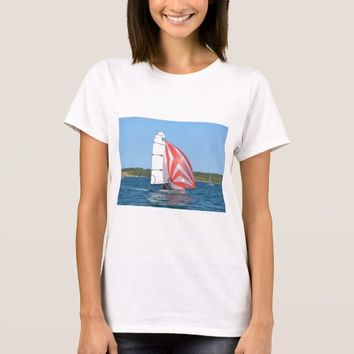 Racing Dinghy At Fornells T-Shirt