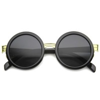 SORNA Revo Mirror Round Frame Sunglasses in Black at FLYJANE