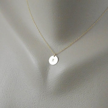 Custom Initial Gold Disc Charm Necklace by DanglingJewelry on Etsy