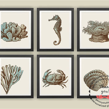 "8""x10"" & up, Set of (6), Sea World Art Prints, Retro Seahorse/Coral/Crab, Living Room Art Print, Modern/Vintage Home Decor, Nursery/Kids Art"