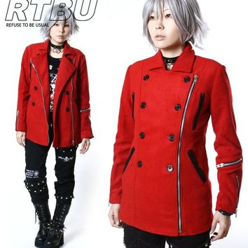 Unisex Gothic Punk Military Uniform Wool-like Double-Breasted Red Jacket Coat