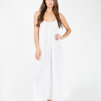 9seed Newport - White Maxi Dress w/ Multi Ties