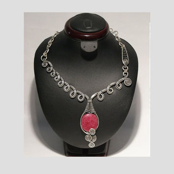 Wire Wrapped Jewelry Handmade, Ruby Necklace , Wire Wrapped Ruby Necklace , Boho Necklace , Gemstone Jewelry , Gemstone Necklace
