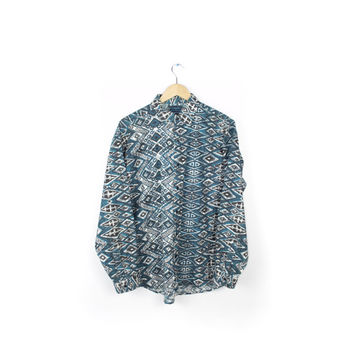 vintage shah safari 80s 90s button down long sleeve shirt / blue teal / fresh prince wild abstract tribal vaporwave / mens small - medium