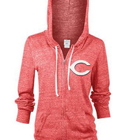 Cincinnati Reds Womens Full Zip Jacket - Red Reds Rhinestone Long Sleeve Full Zip
