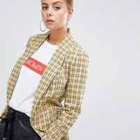 Boohoo tailored blazer in yellow check at asos.com