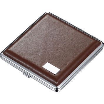 Visol Gerald Brown Leather Double Sided Cigarette Case