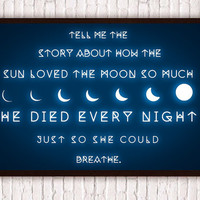Full Moon // Geometric Romantic Typographic Quote // Waxing & Waning Moon // Sun Stars Galaxy Intergalactic Poster Print