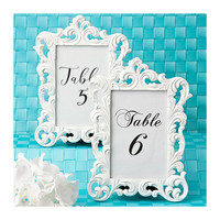 White Picture Frame 4 x 6 Size - Baroque Table Number Frames - Wedding Favors Party Favor Victorian Bridal Shower