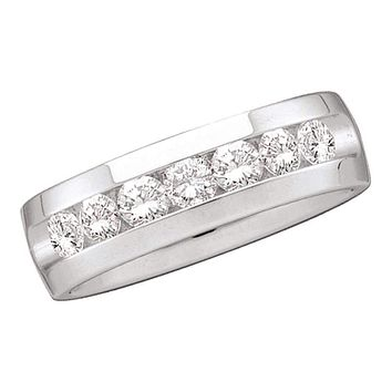 14kt White Gold Men's Round Channel-set Diamond Wedding Band Ring 1/4 Cttw - FREE Shipping (US/CAN)