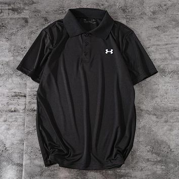 """""""Under Armour"""" Trending Men Stylish Embroidery Sport Short Sleeve Lapel T-Shirt Pullover Top Black I13128-1"""