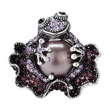 Szxc Jewelry Womens Crystal Frog Statement Stretch Rings Silk Scarf Clasp Clip Buckle
