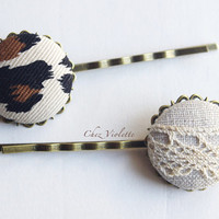 2 Brown Fabric Button Bobby Pin Leopard French Natural Linen Lace Hair Pin Hair Clip Accessories Jewelry Country