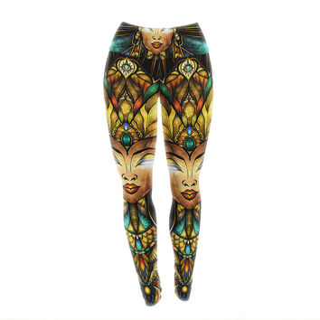 "Mandie Manzano ""Nefertari"" Teal Tan Yoga Leggings"