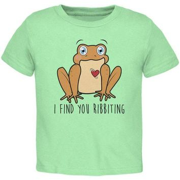 DCCKJY1 Toad I Find You Riveting Funny Pun Valentine's Day Toddler T Shirt