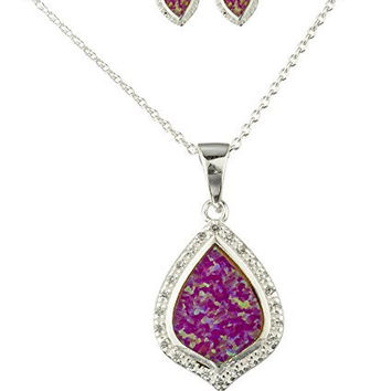 Real 925 Sterling Silver Created Opal Teardrop Necklace with Matching Earrings Jewelry Set (Pink)