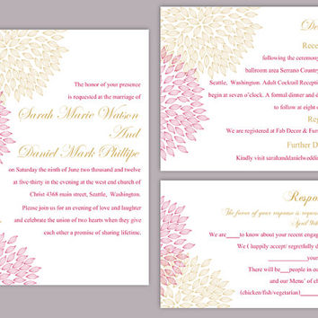 DIY Wedding Invitation Template Set Editable Word File Instant Download Printable Floral Invitation Pink Wedding Invitation Gold Invitations