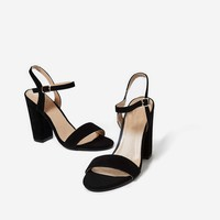 June Barely There Block Heel In Black Faux Suede