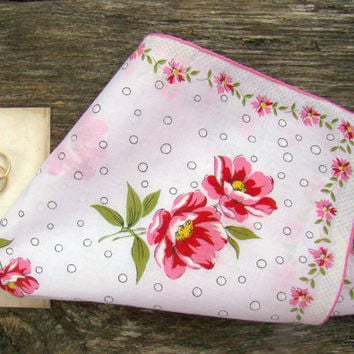 Pink Handkerchief, Vintage, Wedding Hankie, Bride's Handkerchief, Gift For Bride, Wedding Shower Gift, Hot Pink, Floral, Wedding Party