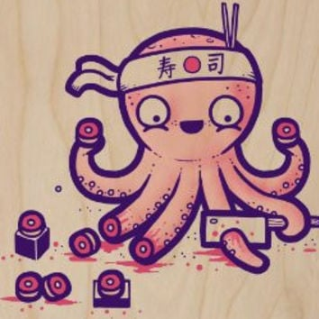 'Octosushi' Funny Japanese Octopus Chef Cutting Tentacles Making Sushi - Plywood Wood Print Poster Wall Art