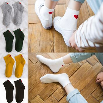 Fashion Women Cotton Socks Cartoon Cute Loving Heart Knee-High Print Pattern Casual Meias Drop Shipping