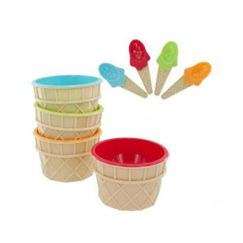 4pc Ice Cream Bowl/spoon