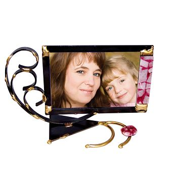 Breast Cancer Awareness Glass Ribbon Photo Frame By Gary Rosenthal, Frames In Multi-Colored,black,gold Size: 10X7