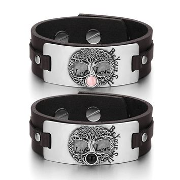 Tree of Life Celtic Powers Couples Pink Simulated Cats Eye Simulated Onyx Brown Leather Bracelets