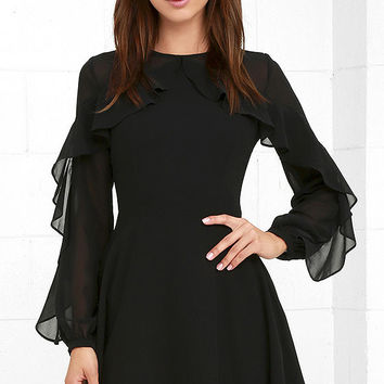 Quiet Grace Black Long Sleeve Dress